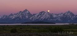 Teton Panorama Sunrise and Moonset