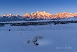 winter, sunrise, teton range, Tetons, Grand Teton