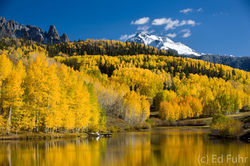San Juan mountains, colorado, cushman lake, snow, aspens