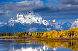 autumn, moran, oxbow bend, aspen, snow