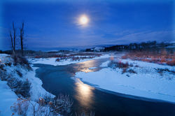gros ventre river, moon, blue moon