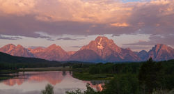 oxbow bend, snake river, sunrise, tetons