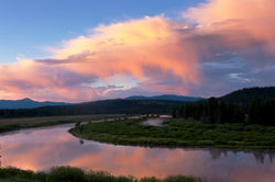 oxbow bend, tetons, sunrise, snake river