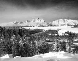 snake river overlook, grand teton, snow