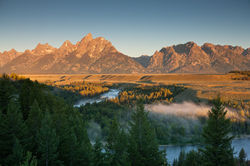 snake river overlook, tetons, fog