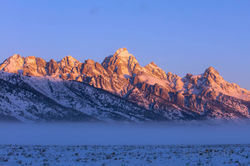 Grand Teton, sunrise, winter, 2016, photograph, Tetons