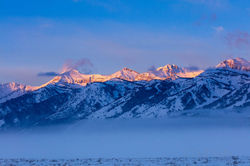 Grand Teton, winter, sunrise, 2016, photograph, Tetons