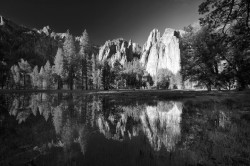 Cathedral Rocks, El Capitan Meadow, flood, yosemite
