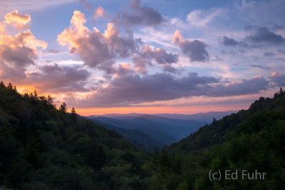 newfound gap, morton overlook, sunrise, great smoky mountains, photograph, image