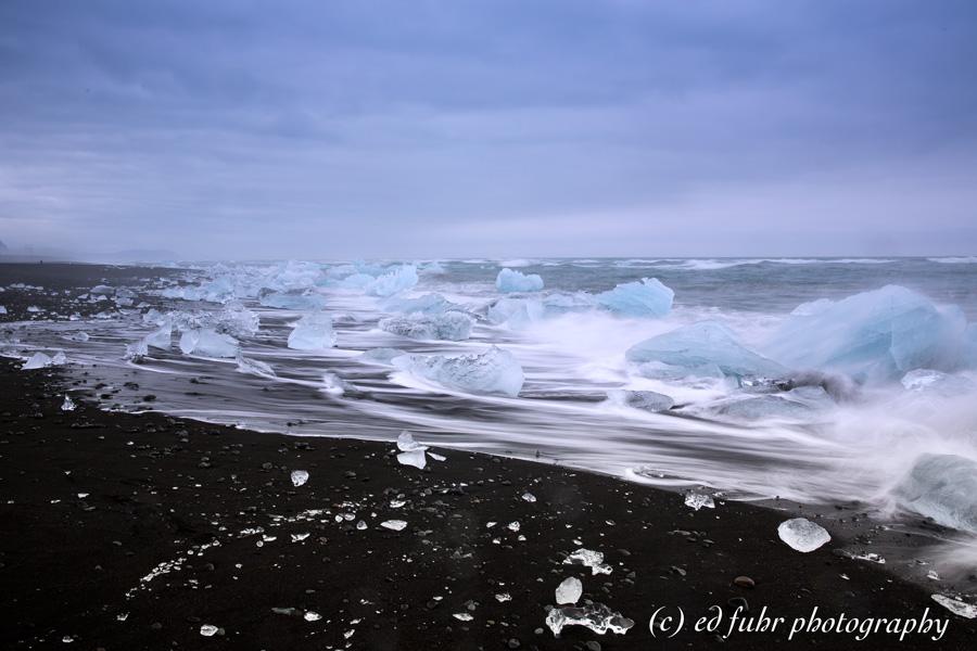Icebergs, lagoon, beach, iceland, black sand, jokulsaron