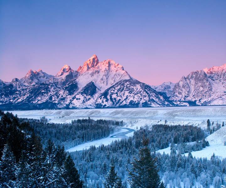 Tetons, photo, snake, river, overlook, winter, snow, sunrise