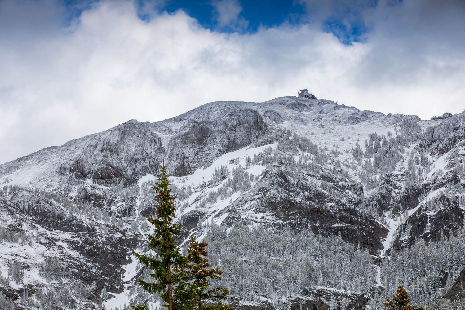 A not so unusual but beautiful June snow caps the upper reaches of Mount Washburn in Yellowstone National Park. Standing just...