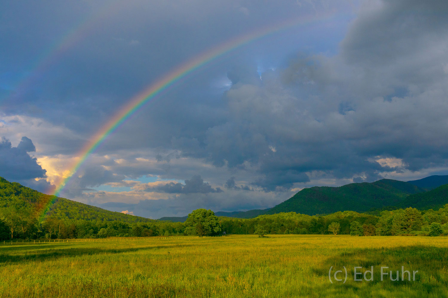 The eternal promise - a double rainbow spans the Cades Cove valley after a spring rain.