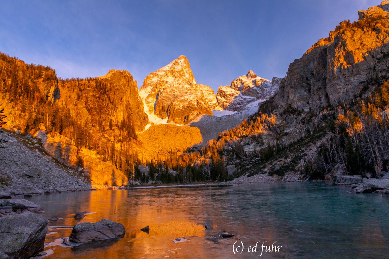 alpine lake, ice, sunrise,  delta lake, grand teton, hike, photo