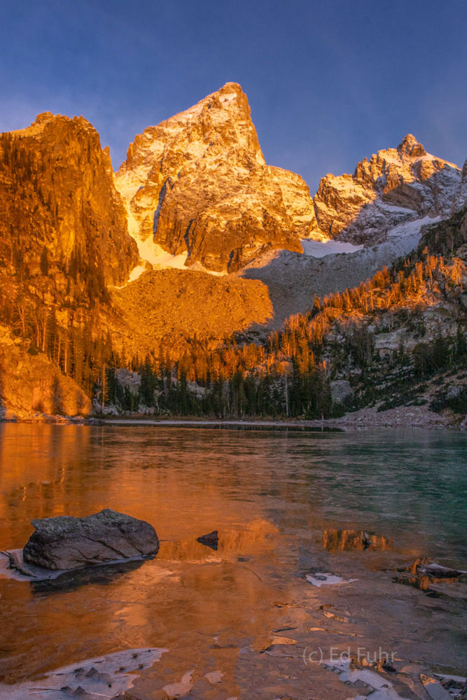Shortly after sunrise, the highest peak of the Teton Range, the Grand, stands almost 14,000 feet high, or 3000 feet above this...
