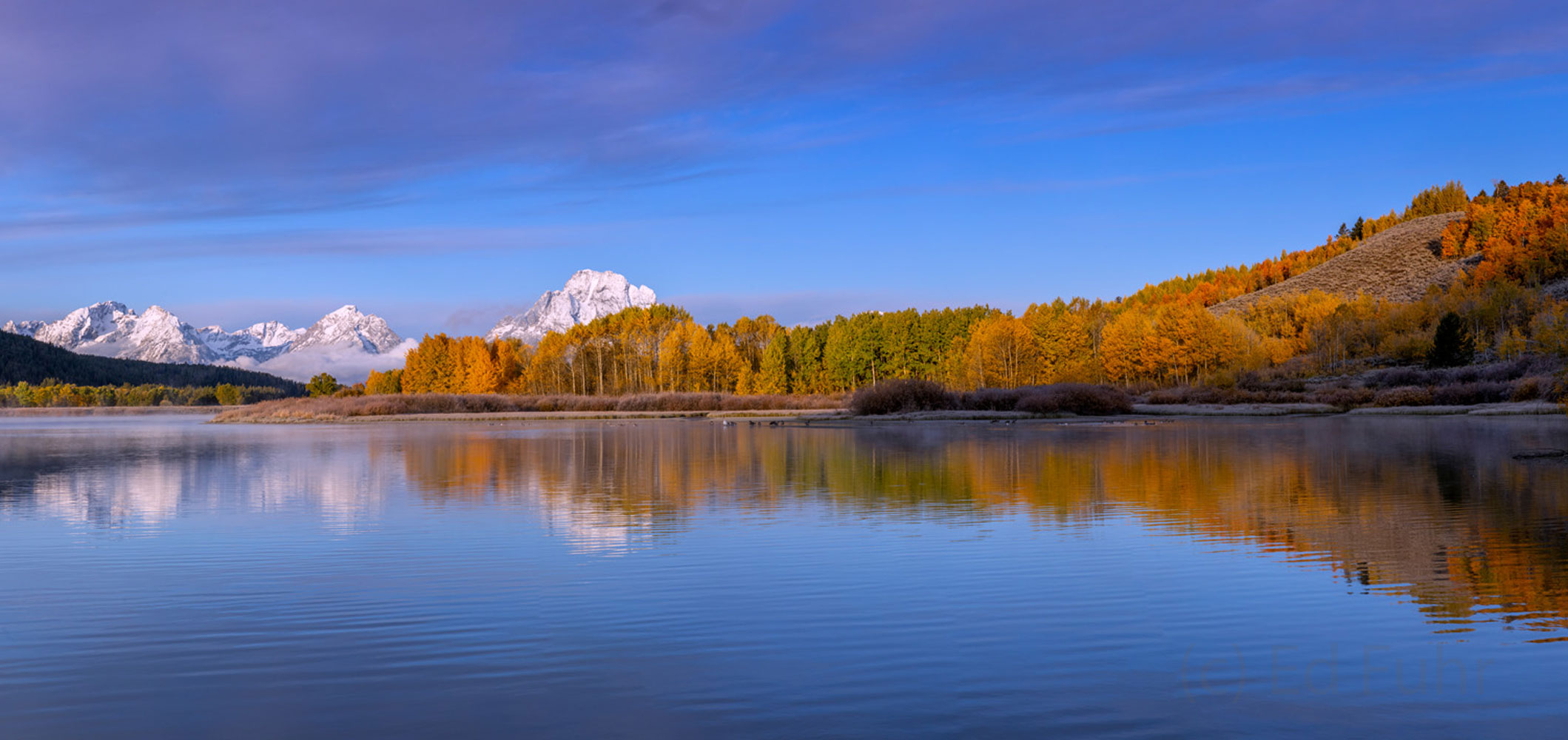 panorama, oxbow bend, autumn, Tetons, Grand Teton, photo