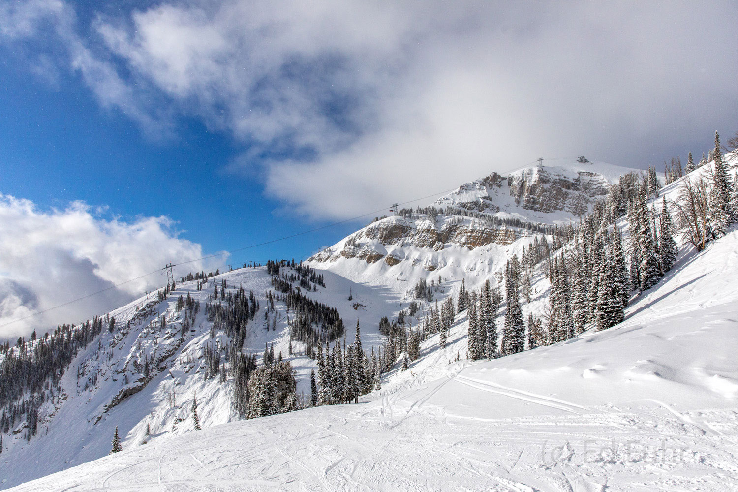 An advantage to skiing is the opportunity to experience some higher regions of the Tetons, including the areas surrounding Sublette...