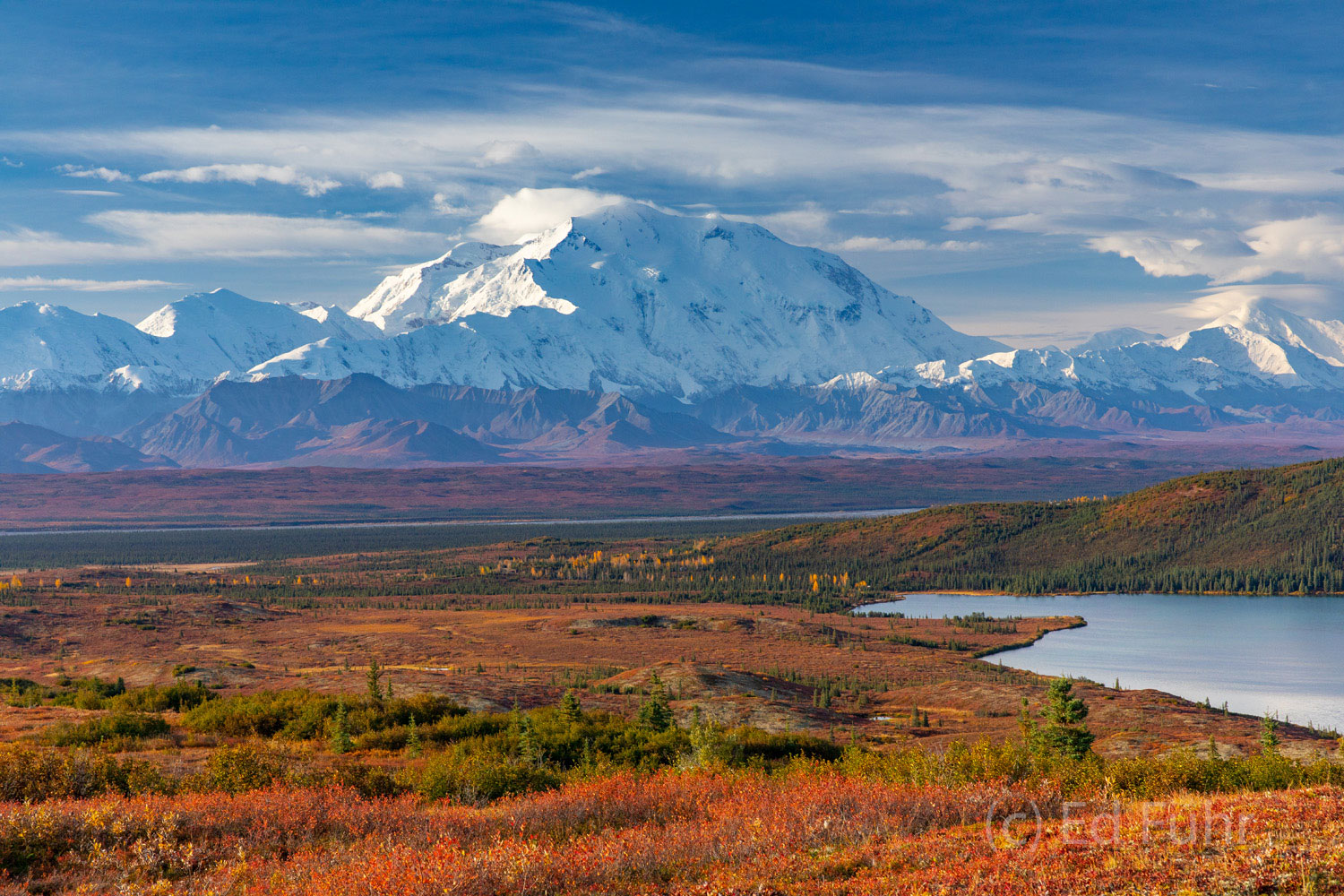 Termination Dust, as the first snow is called, coats Denali and the ridges below it, above Wonder Lake