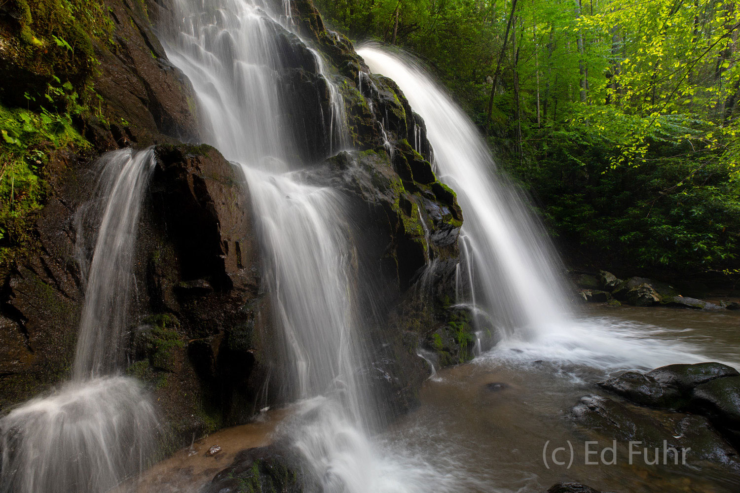 Spruce Flat Falls in Spring is one of the most beautiful falls in the Great Smoky Mountains.