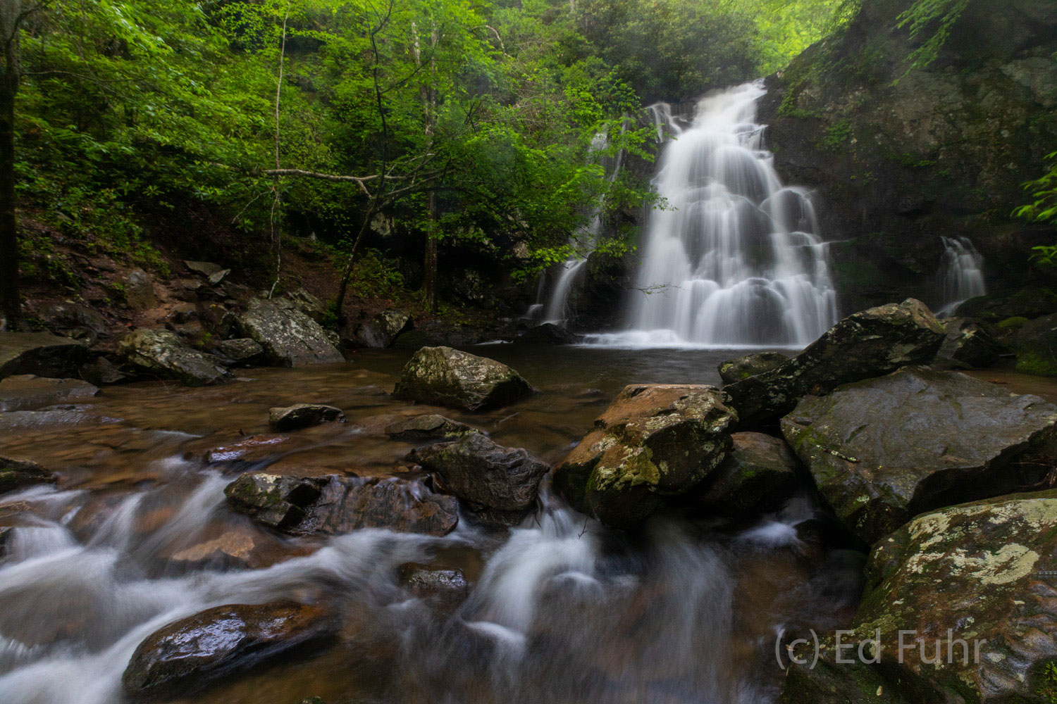 A gentle cascade streams below Spruce Flat waterfall, located near Tremont in the Great Smoky Mountains.