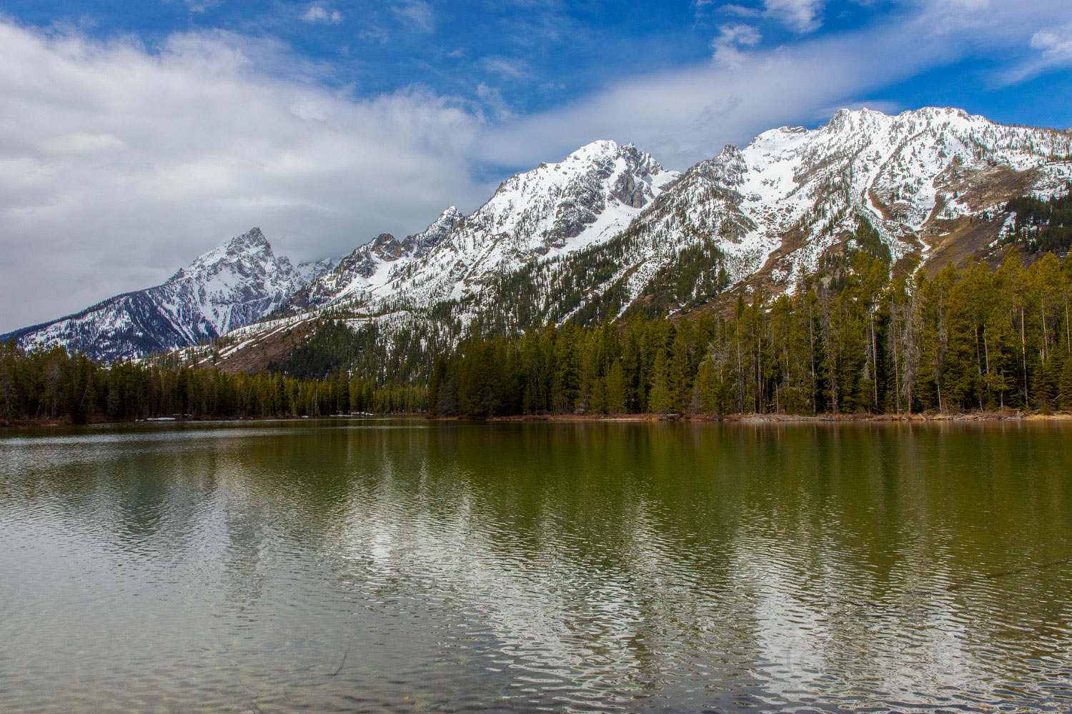 string lake, spring, snow, Tetons, Grand Teton, photo