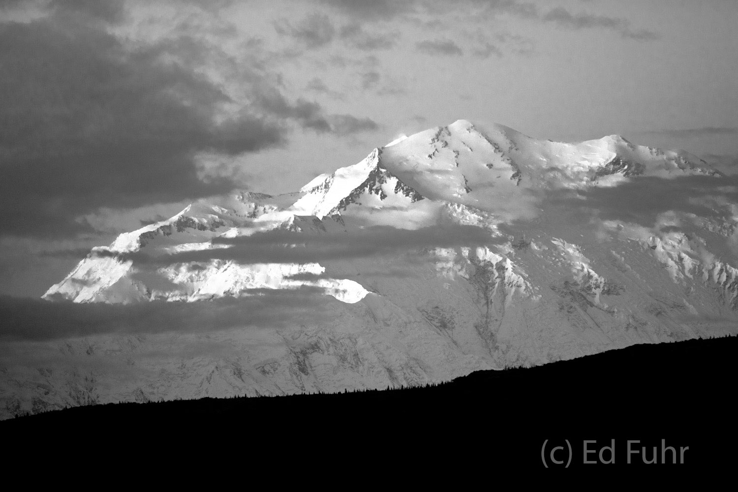 Most days Denali is obscured by clouds like these just beginning to form around its peak this morning