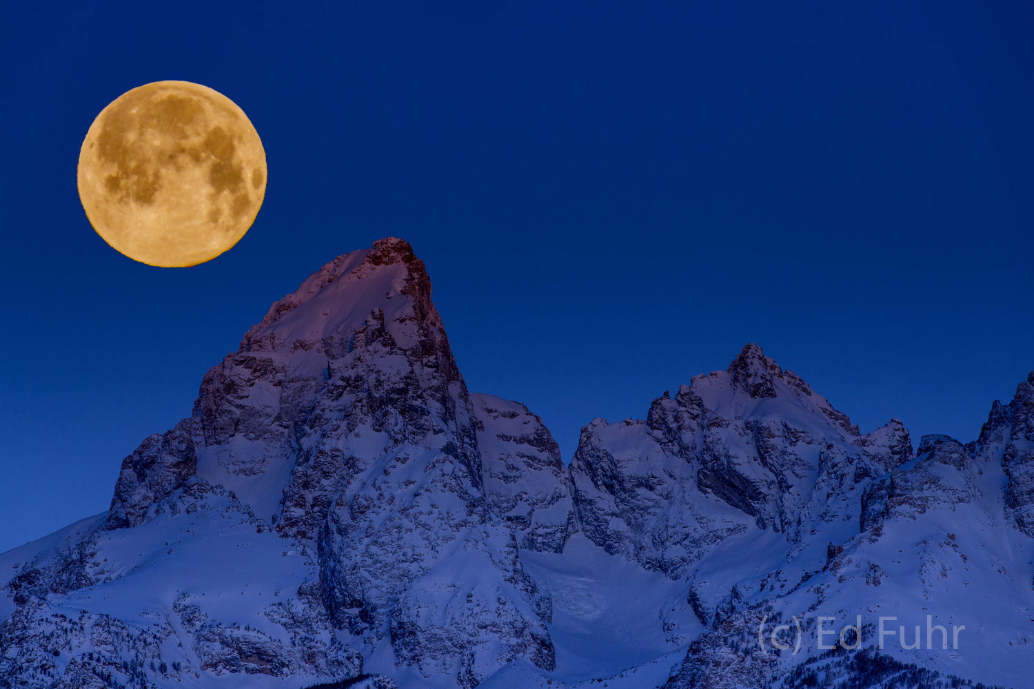 A winter storm has cleared and a super golden snow moon hovers just above the Teton range.