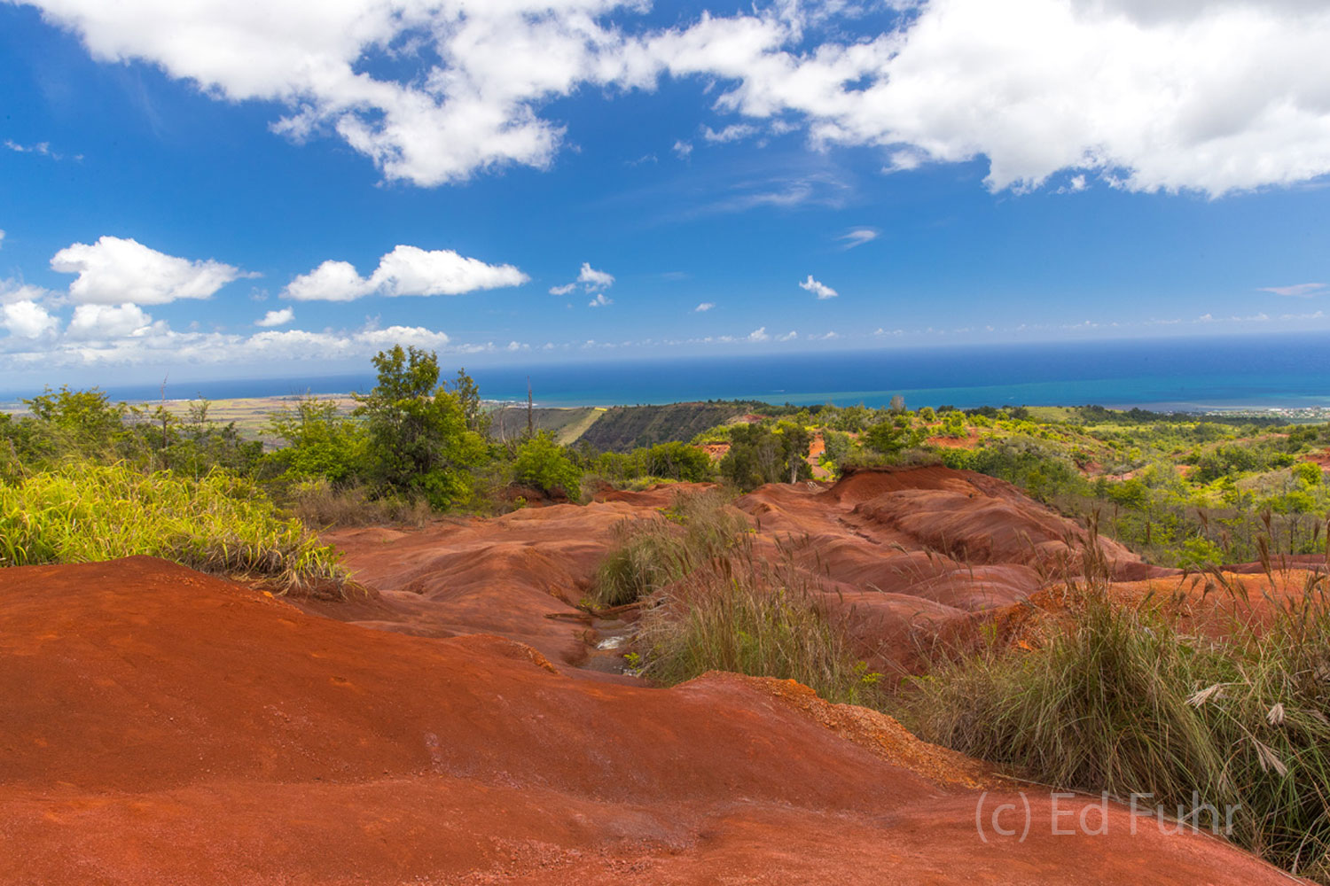 Rusted volcanic rock aged over a million creates a stunning contrast with the Pacific blue and surrounding lush vegetation.