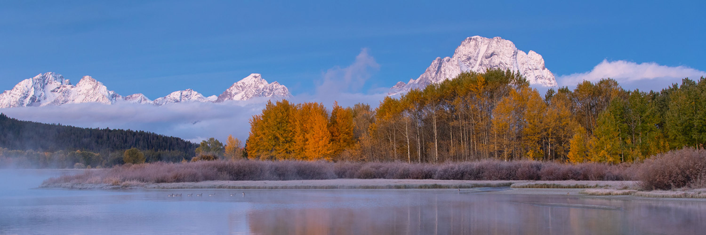 oxbow bend, sunrise, autumn, fog, Tetons, Grand Teton, photo
