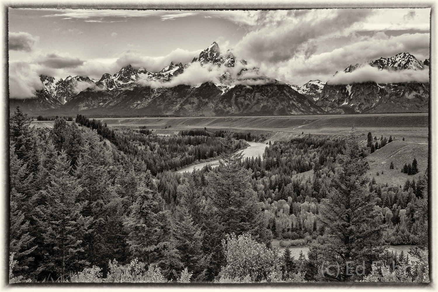 The classic Snake River Overlook in sepia.