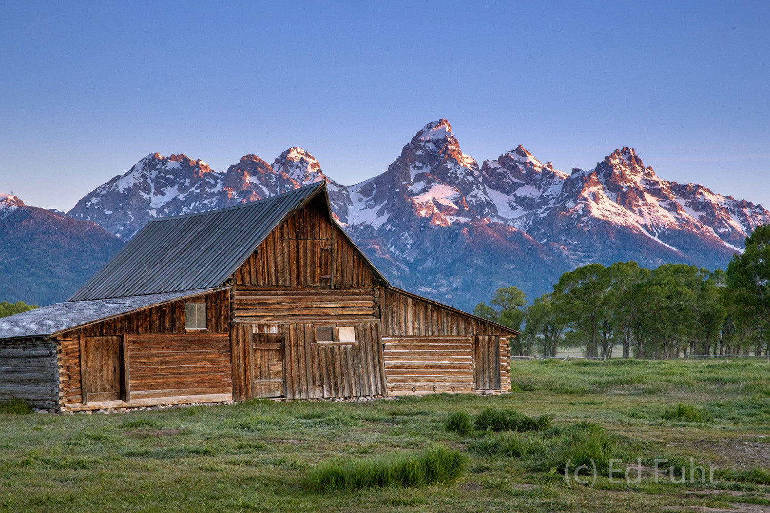 The early sun begins to paint the Teton range while the T.A. Moulton barn still stands in shadow.