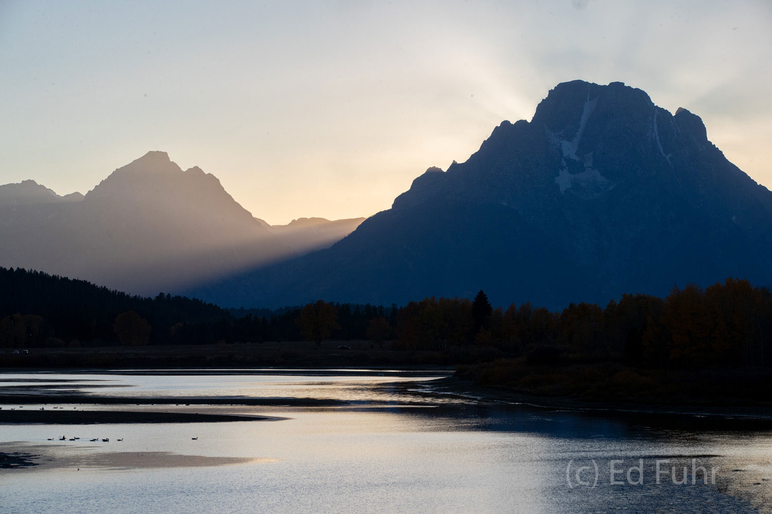 Shadows and light on Oxbow Bend, with Mount Moran looming above.