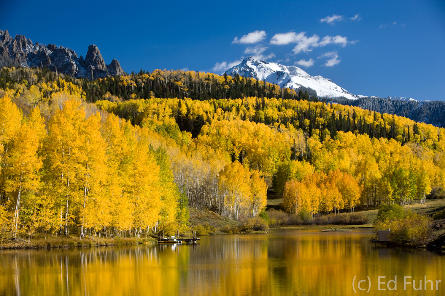San Juan mountains, colorado, cushman lake, snow, aspens, photo