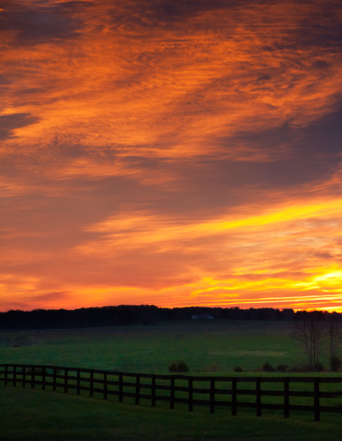 sunrise, autumn, green springs, virginia, farm, photo