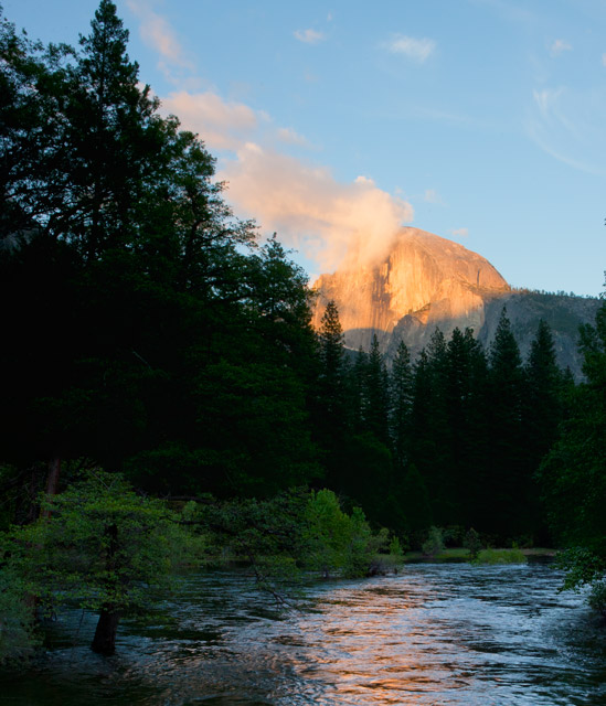 yosemite, half dome, merced river, twilight, photo