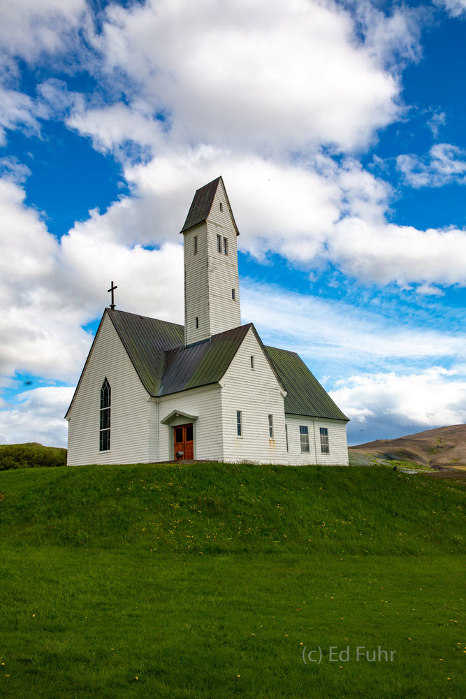 One of Iceland's many beautiful churches is Hellgrimmskirche at Sauerbae on Snaefellsness Peninsula.