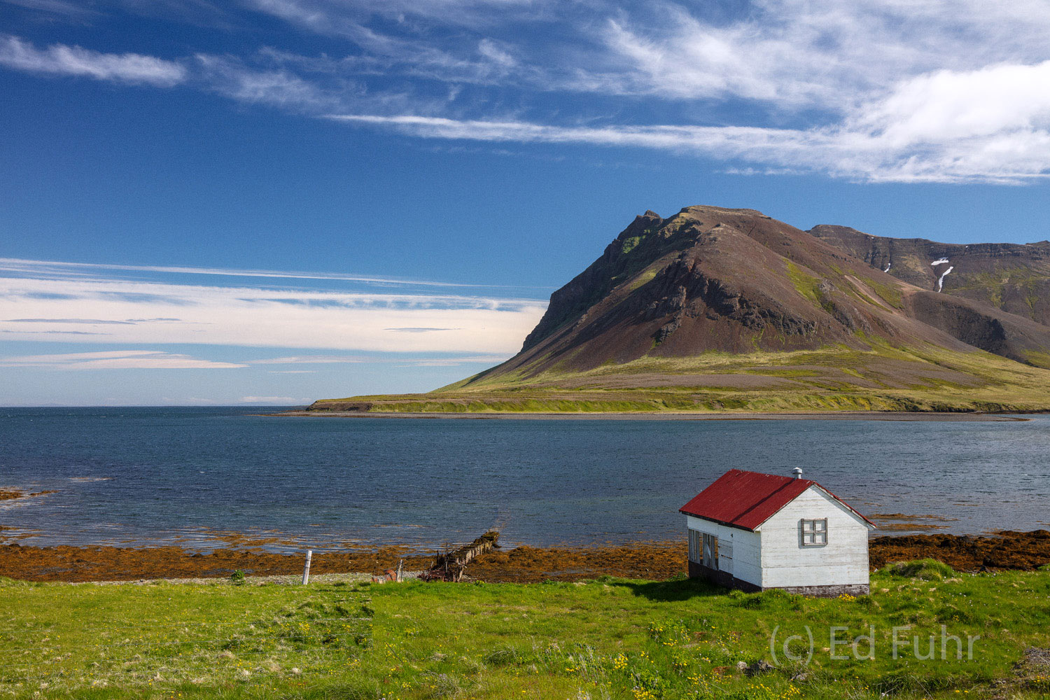 A beautiful harbor and bay, Kolgrafafjordur, provides a graceful introduction to the beauty of nearby Snaefellsness Peninsula...