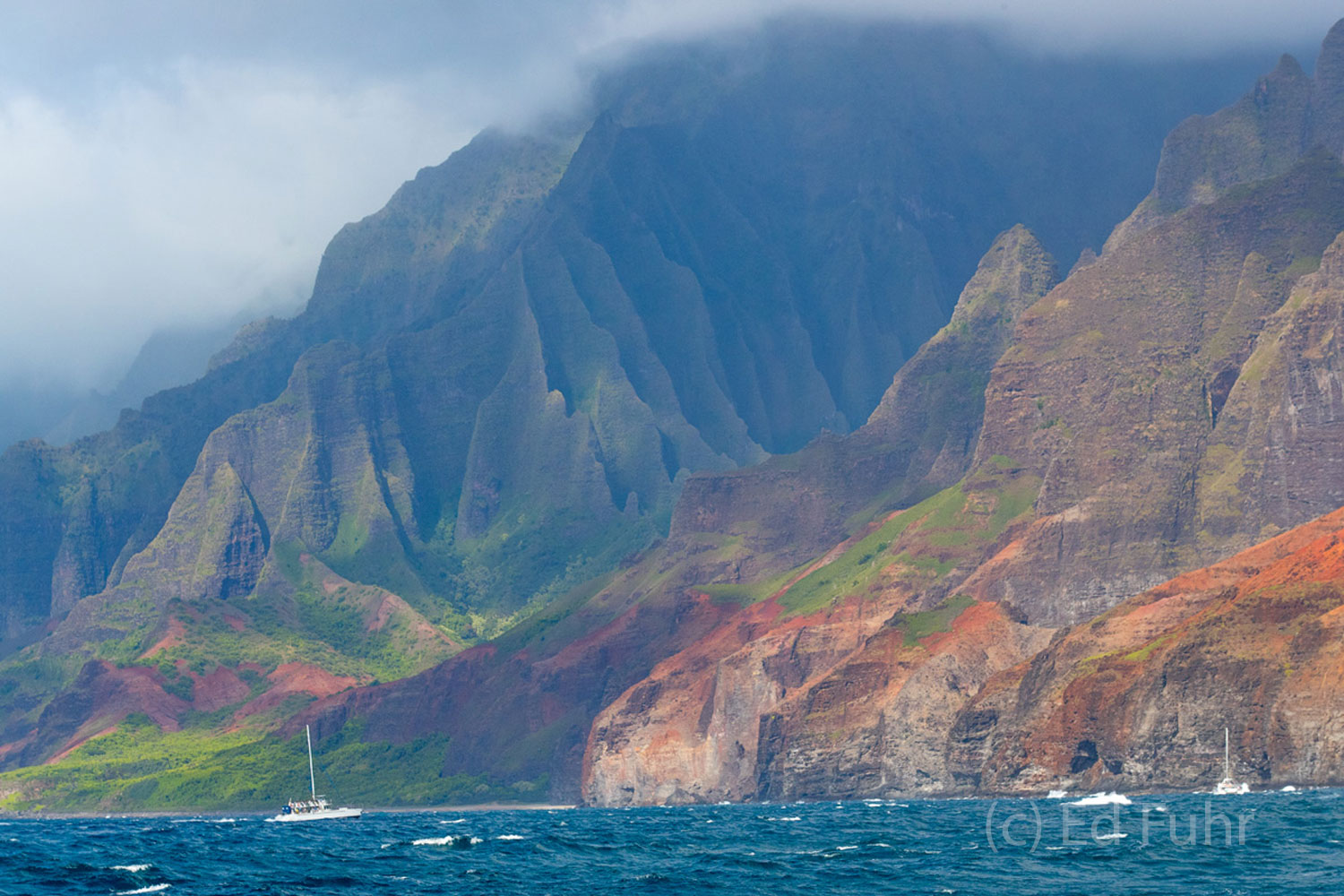 Sailing the Na Pali Coast at sunset when the light strikes the mountains as they tumble into the ocean is a sight to remember...