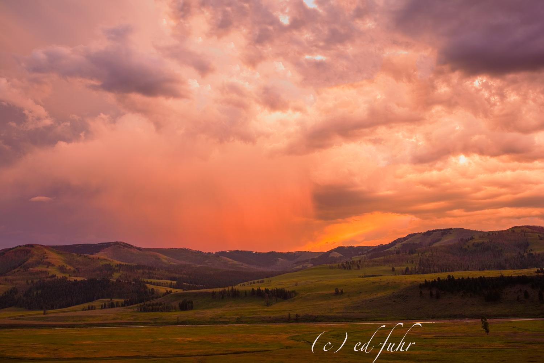As a summer storm retreats, a spectacular sunset erupts over the magical Lamar Valley.