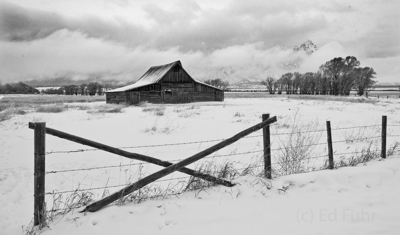 moulton barn, tetons, winter, storm, photo
