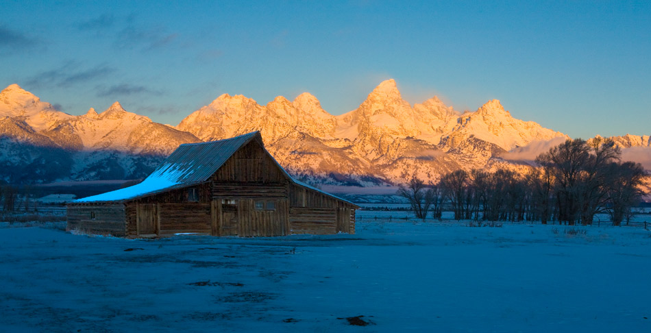 tetons, moulton barn, sunrise, photo