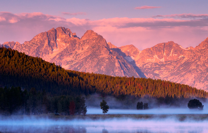 snake river, oxbow bend, fog, tetons, photo