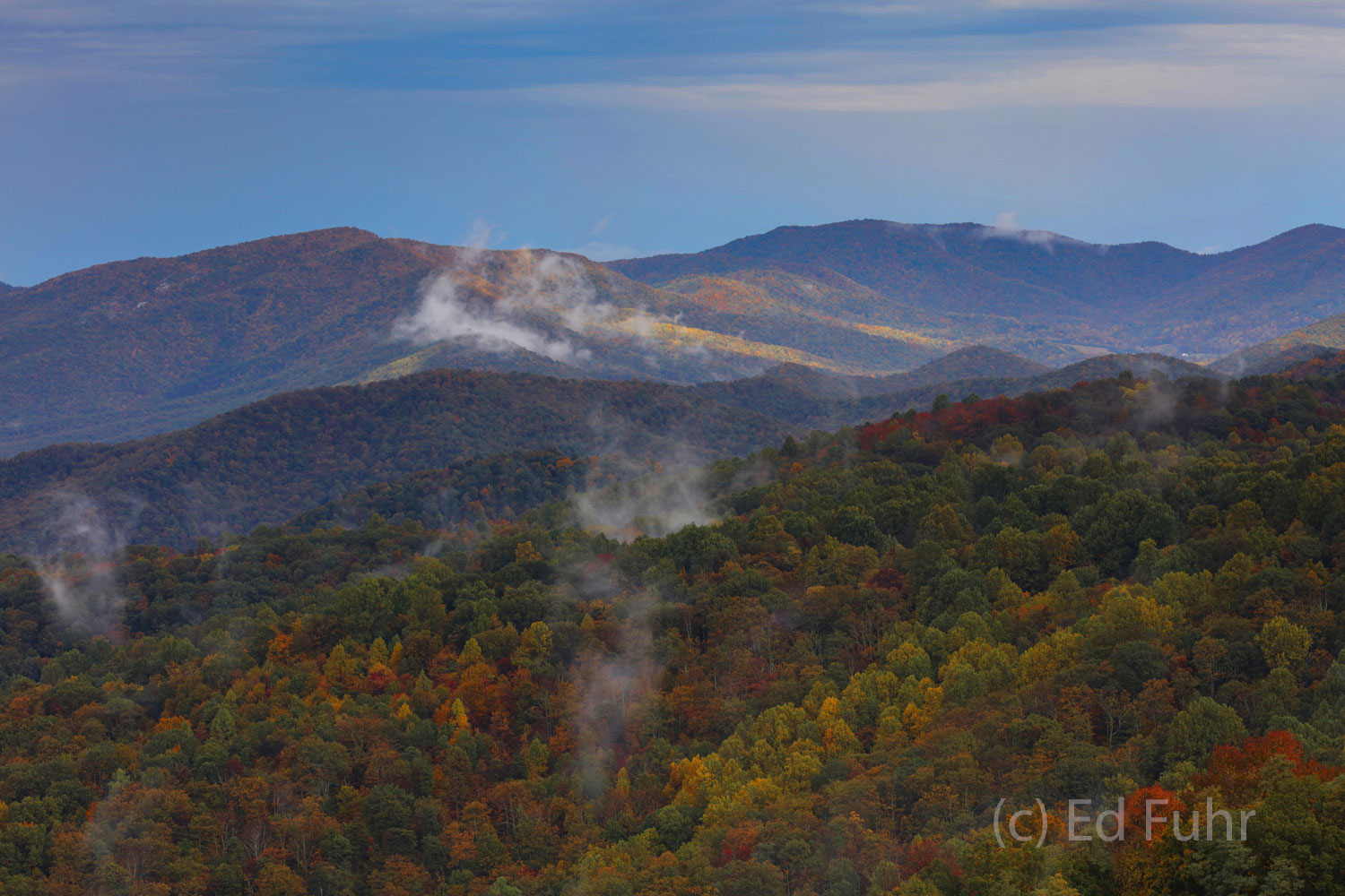In the south district, fall's colors flow from the mountain slopes into the Shenandoah valley below.