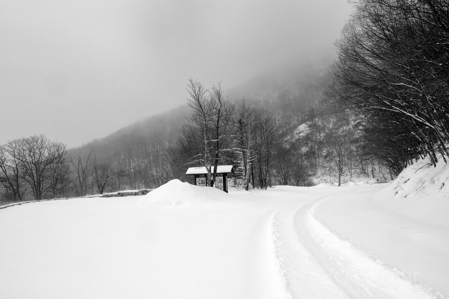 The entrance into Shenandoah is coated in a heavy snow.