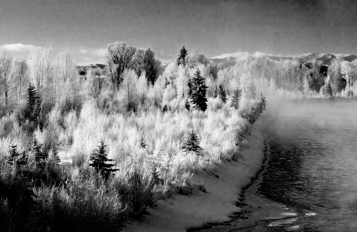 snake river, fog, grand tetons,frost, photo