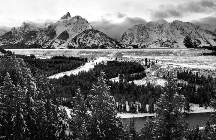 snake river overlook, tetons, winter, photo