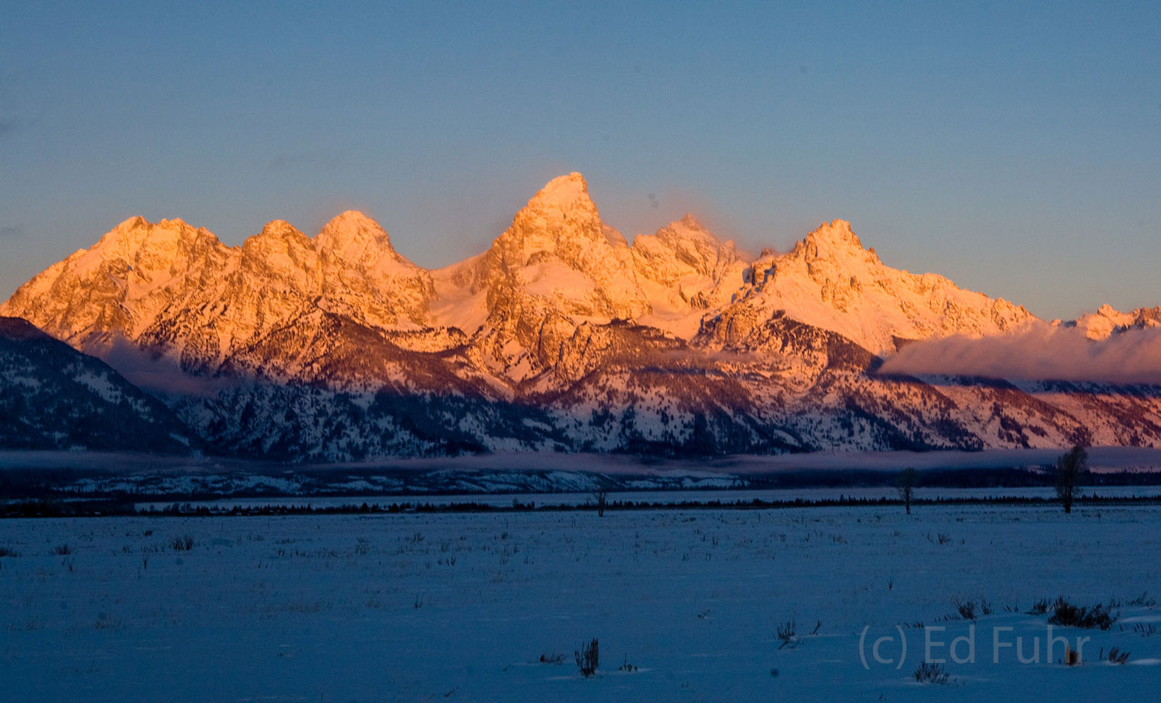 tetons, sunrise, snow, photo