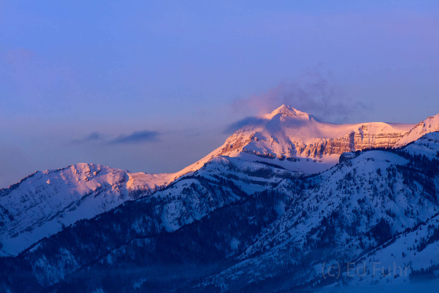 Grand Teton, sunrise, winter, photo