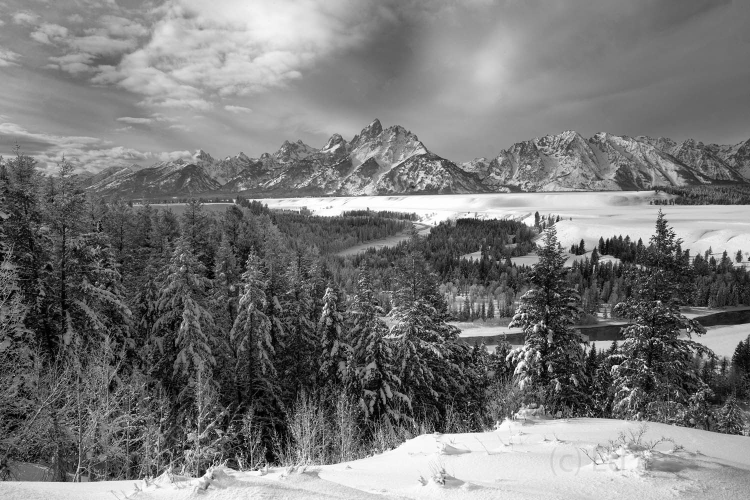 snake river overlook, black and white, photo