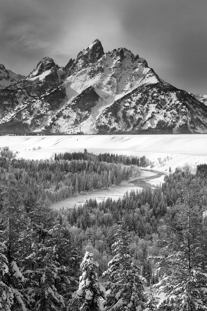 snake river overlook, black and white, winter, 2016, grand teton, photograph, photo
